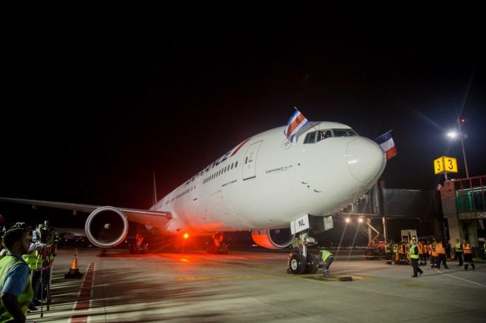 llegada vuelo inaugural AirFrance a Costa Rica